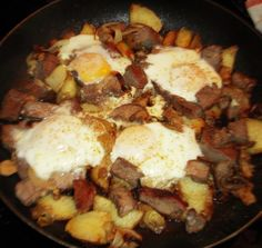 Steak and Eggs Skillet  This is made with leftover steak, that makes this quick and easy breakfast and most of all super delicious!