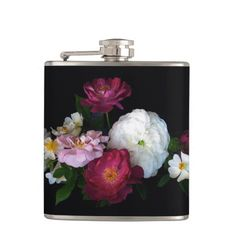 This hip flask displays a photograph of an exquisite design of red, pink and white antique roses set off by a black background. Cool Flasks, Customized Girl, Ceramic Knobs, Antique Roses, White Ceramics, Gifts For Her, Floral, Rose Flowers, Photograph