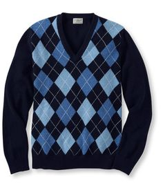 Lambswool Sweater, V-Neck Argyle: V-Necks   Free Shipping at L.L.Bean  This lambswool sweater is tightly knit from finer yarns to make it thicker and softer than most others you might find. The high-quality yarns are spun for us in England by Hinchliffe Mills. One of the world's premier mills, they use a slower spinning process called mule spinning, which yields a softer product. Features a handsome argyle pattern on the front and a solid back. Made in China. Machine wash, dry flat.  $ 69