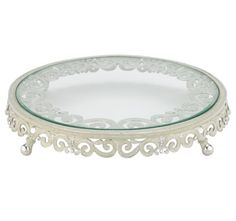 CAKE PLATEAU STAND White colored hand-enameling and hand-set clear Swarovski crystals