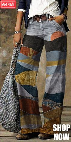 Ropa Shabby Chic, Moda Hippie, Hippie Chic, Type Of Pants, Vintage Colors, Wide Leg Jeans, Colored Jeans, Color Mixing, Lounge Wear