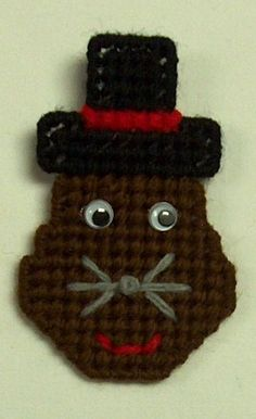 Punxsutawney Phil Groundhog Pin. Sewn on safety clasp pin back. Handmade using plastic canvas, yarn and wiggle eyes. US and International government regulations prohibit such behavior. New from smoking home. | eBay!