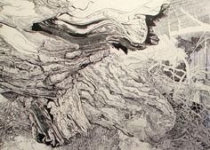 A Sprawling Wall Sized Mural Drawn With Only a Black Sharpie by Sean Sullivan murals drawing