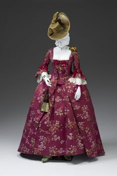 A beautiful raspberry juice hued robe a la francaise, 1770-80. Via the Mint Museum. #Georgian #fashion #historical_costumes