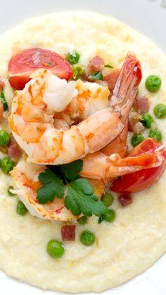 Shrimp with Pancetta and Peas Over Soft Polenta