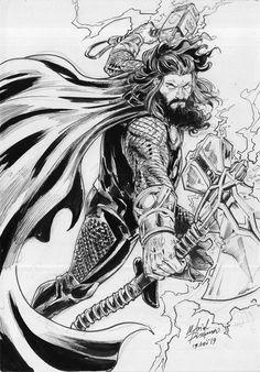 Thor Endgame M Arief Russanto Marvel Avengers Assemble, Avengers Art, Marvel Art, Marvel Heroes, Ms Marvel, Captain Marvel, Thor Drawing, Thor Tattoo, Disneysea Tokyo