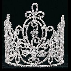 Girls Silver 6 3/4in Pageant Quinceanera Communion Crown Headpiece. -- 8% DISCOUNT for a limited time!