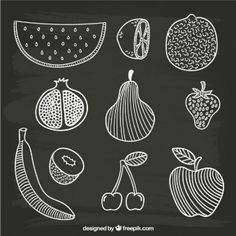 frutas desenhados mão