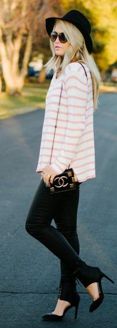 Windsor Ivory/Blush Stripe Zipper Back Sweater by Cara Loren