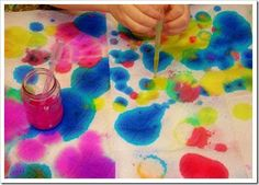 The children created abstract designs by squirting liquid watercolors all over paper towels.       We prefer to use glass contai...