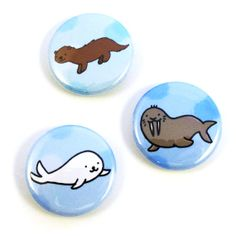 Arctic Animals Button Set by sugarcookie on Etsy, $6.00