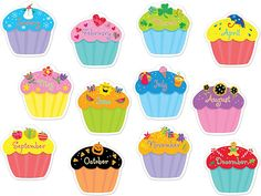 CUPCAKES JUMBO CUT OUTS - These versatile jumbo cut-outs are perfect for enhancing bulletin boards highlighting student work making covers for class books adding a bit of sparkle to classroom decor and more! * All designs are shown * Approx. Birthday Bulletin Boards, Classroom Bulletin Boards, Preschool Birthday Board, Creative Bulletin Boards, Birthday Display, Birthday Wall, Birthday Cupcakes, Happy Birthday, Ideas