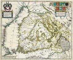 1662. Ensimmäinen painettu kartta Suomen suuriruhtinaskunnasta. Julkaisija alankomaalainen kartankustantaja Joan Bleau. Kartta pohjautuu ruotsalaisen Anders Buren (Andreas Bureus) kartta-aineistoon. (Fredriksonin karttakokoelma, Jyväskylän yliopisto)