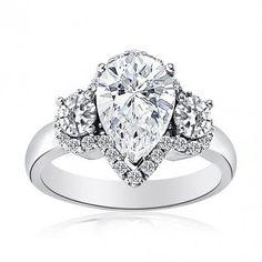 Halo Set Pear Shaped Diamond Ring with Round Brilliant Side Stones | Diamond Emporium