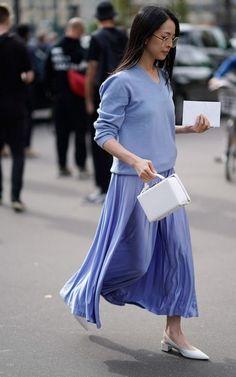 paris fashion week - a blue on blue feminine look