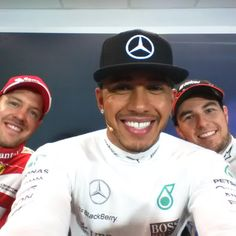 That moment when the winning driver takes your phone and gets the best behind the scenes selfie! Female Race Car Driver, Car And Driver, Gerhard Berger, Sergio Perez, Amg Petronas, Thing 1, F1 Drivers, Lewis Hamilton, Selfie Time