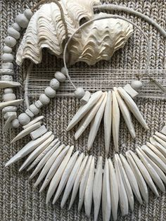 Handmade clay bead decor necklace & cuttlefish bone wall hanging decor for the home. All available via Esty: https://www.etsy.com/au/listing/514261049/medium-cuttlefish-bone-twine-wall?ref=shop_home_active_18