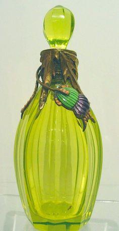 Art Nouveau Austrian Vaseline Glass Perfume Bottle Mounted w Bronze and Enamel | eBay