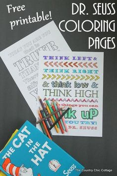 Dr. Seuss Coloring Pages -- free printable coloring pages for the kids and Read Across America Day.