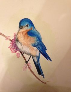 Blue Bird Water Color Painting Print by HowMyBrownEyesSeeIt, $7.50