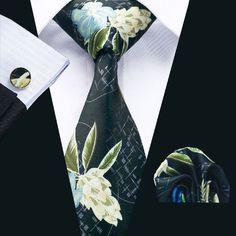 SN-1214 New Floral Prints Mens Tie Hanky Cufflinks Black&White Stylish Silk Ties