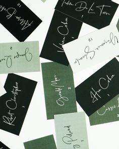 Custom designed wedding escort cards in shades of green Kelly Green Weddings, Circus Background, Green Wedding Decorations, Wedding Alcohol, Business Card Design, Business Cards, Wedding Stationery, Wedding Planner, Wedding Pinterest