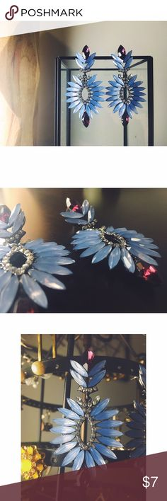 Statement Earrings This pair of memorable, large jewel-studded statement earrings will be the finishing touch to your outfit. Never worn, they are in perfect condition. They are a tad heavy, if you are sensitive to weighted earrings. Jewelry Earrings