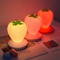 Strawberry Silicone USB Rechargable Night Light Lamp - White Strawberry