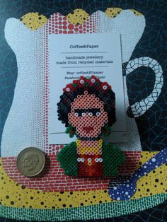 Frida Kahlo statement brooch made of mini hama by coffeeANDpaper