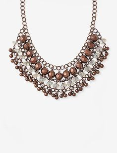 Hannah Faceted Bronze Beaded Collar Necklace|Stage Stores