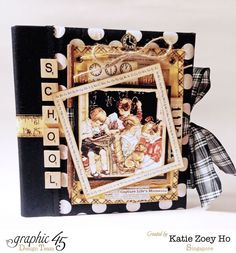 In love with this fabric-covered Mixed Media Album by Katie using An ABC Primer! Amazing colors on this #Graphic45