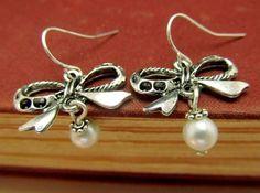 Silver Bow Earrings Pearl Earrings Tie Bow by 4Everinstyle on Etsy, $24.00
