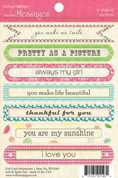 Webster's Pages NEW Girl Land Mini Messages Stickers
