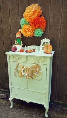 Decorations at a pumpkin baby shower party! See more party ideas at CatchMyParty.com!