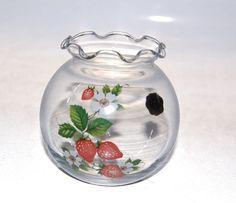 "Westmoreland Glass Clear Votive Strawberry Candle Holder Bowl 4"" #Westmoreland #strawberry"