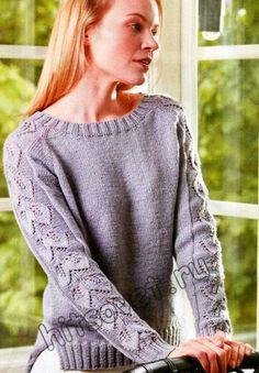 Ravelry: Naisen neulepusero pattern by Sisko Sälpäkivi Mohair Sweater, Pullover Sweaters, Sweater Cardigan, Knitting Socks, Lace Sleeves, Knitwear, Knitting Patterns, Knit Crochet, Knit Tops