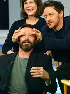 EYE SPY | Ah yes, that's the spot! James McAvoy gives Hugh Jackman an, uh, interesting head massage on the set of Good Morning America while promoting their new film X-Men: Days of Future Past in New York City on Thursday.