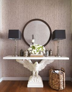 Thom Filicia Hallway Table. I love the black lampshades. Can't wait to swap out my white and canvas lampshades! Love, love, love the table!