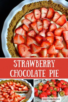 This easy strawberry pie is as easy as, well, pie. It's for anyone who needs a delicious dessert with ingredients readily on hand. Chocolate Strawberry Pie, Easy Strawberry Pie, Chocolate Pies, Chocolate Strawberries, Unique Recipes, Great Recipes, Favorite Recipes, Amazing Recipes, Great Desserts