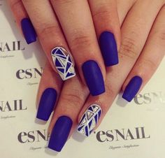 Navy Bule and Gold Geometric Nail Design