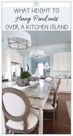 A quick and inexpensive update over your kitchen island is new light fixtures.  Here is your guide to hanging them!