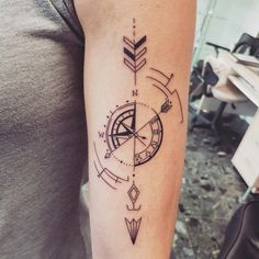 Geometric compass tattoo