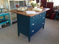 Old dresser turned kitchen island! 1 part Dixie Belle Paint Midnight Sky and 2 parts Peacock