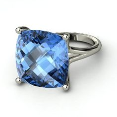 Naked Cushion Ring, Cushion Checkerboard Blue Topaz Sterling Silver Ring from Gemvara