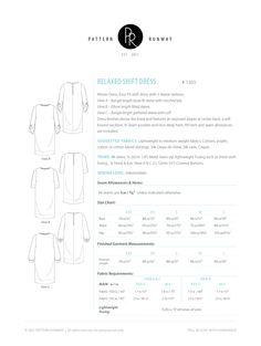 Women's Relaxed Fit Shift Dress Pattern.