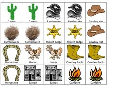 Have your children match the wild west cards or use as a memory game! I print the page on cardstock, cut the cards out along the lines, and lamina. Cowboy Theme, Western Theme, Cowboy And Cowgirl, Wild West Theme, Wild West Party, Rodeo Party, Cowboy Party, Preschool Printables, Preschool Activities