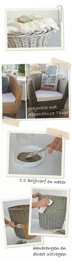 Een oude stoel of mand oppimpen met krijtverf en wat water...
