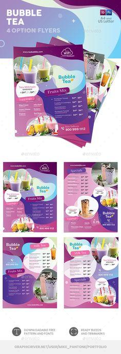 Bubble Tea Menu Flyer Templates PSD, InDesign INDD. Download