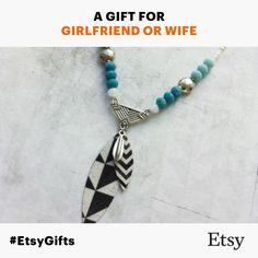 "#EtsyGifts #bohochic Necklace -""Bohemian"" Collection - Paper, metal & glass beads - Unique Piece"