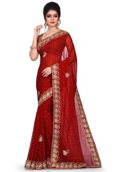 Hand Embroidered Viscose Georgette Saree in Red Pakistani Outfits, Indian Outfits, Indian Clothes, Saree Designs Party Wear, Mirror Work Saree, Lehnga Dress, Indian Gowns Dresses, Saree Trends, Stylish Sarees